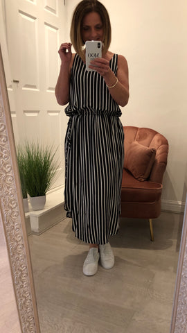 EB & IVE INES TIE SIDE STRIPED MAXI DRESS