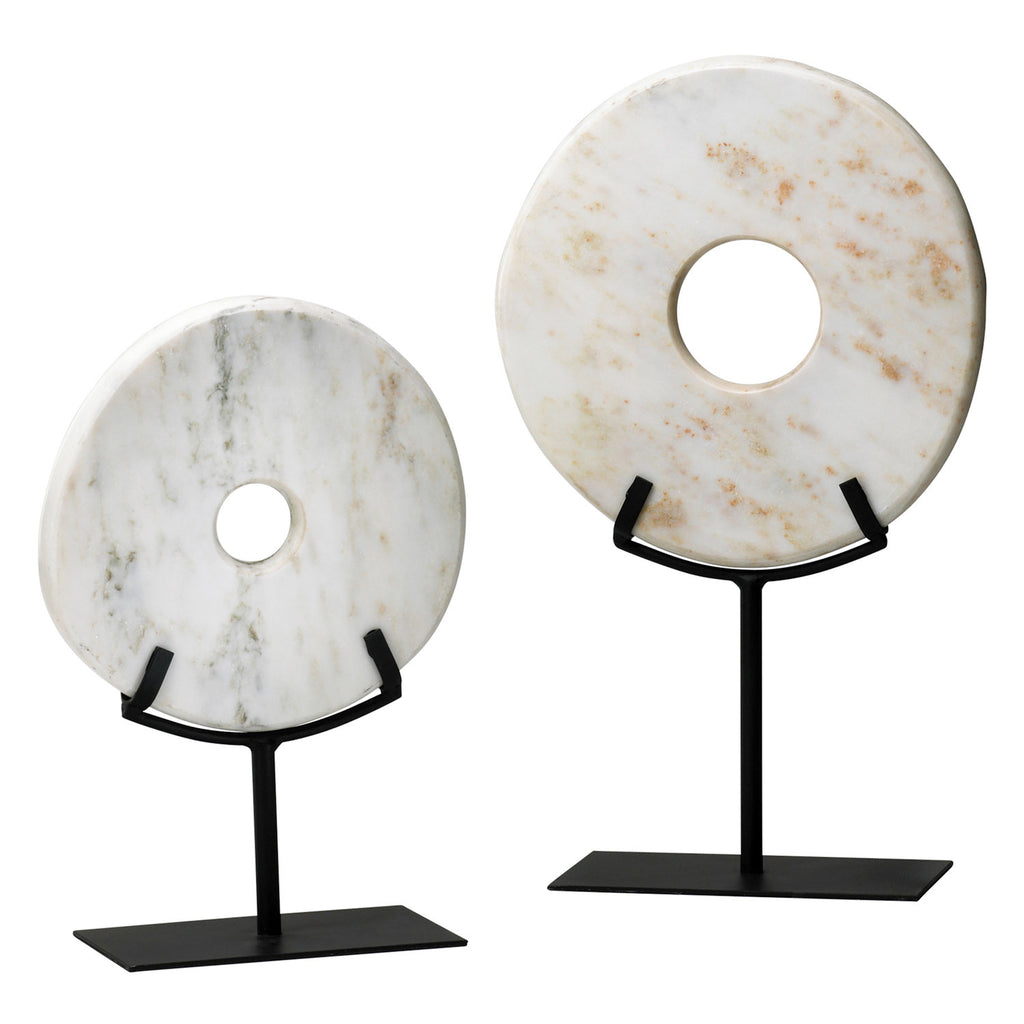 Cyan Design White Disk On Stand Set of 2