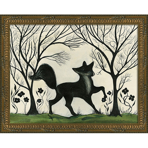 Silhouette Fox Facing Right Framed Print