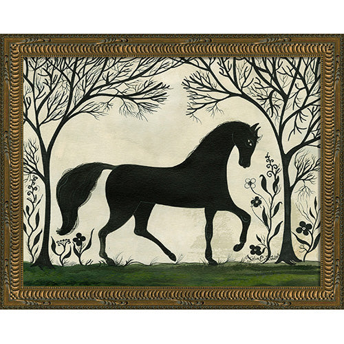 Silhouette Horse Facing Right Framed Print