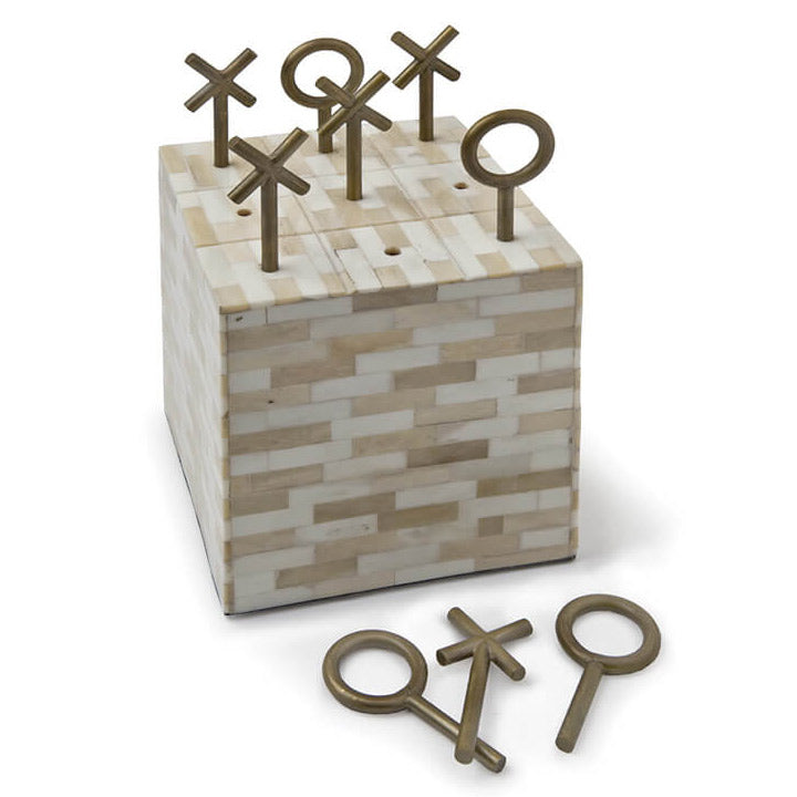 Regina Andrew Tic Tac Toe Bone Block Decorative Game