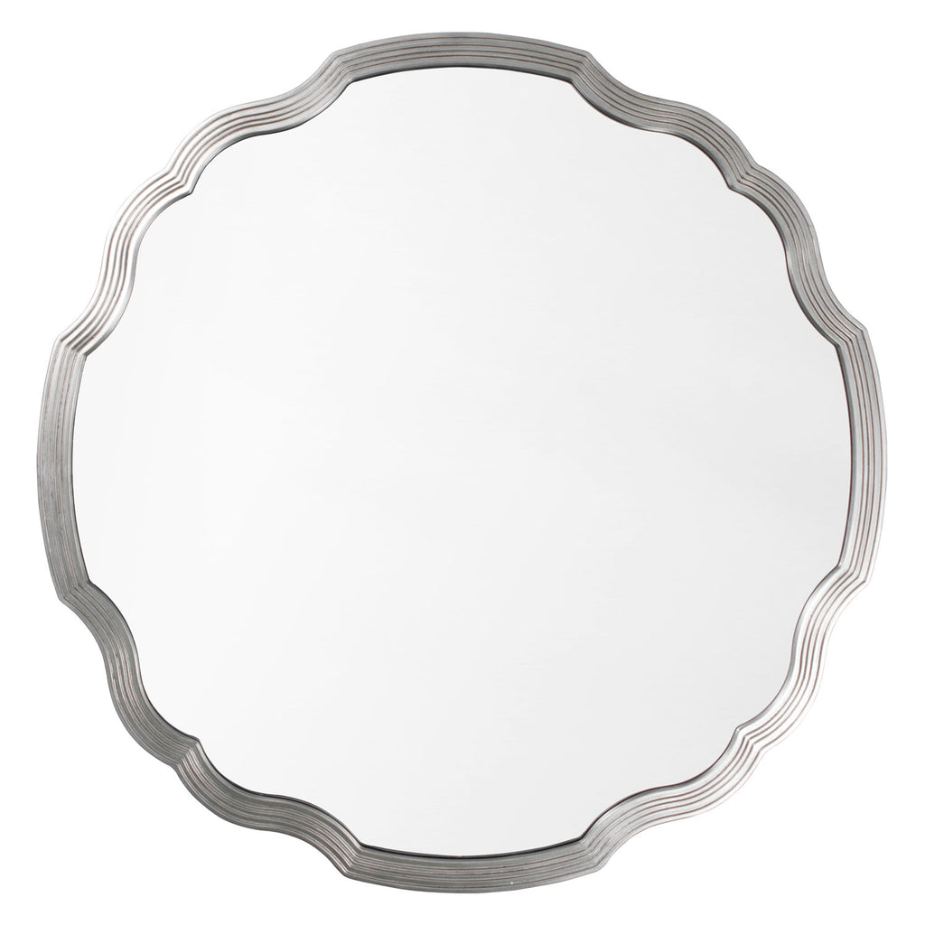 Mirror Image Home Chippendale Silver Leaf Round Wall Mirror