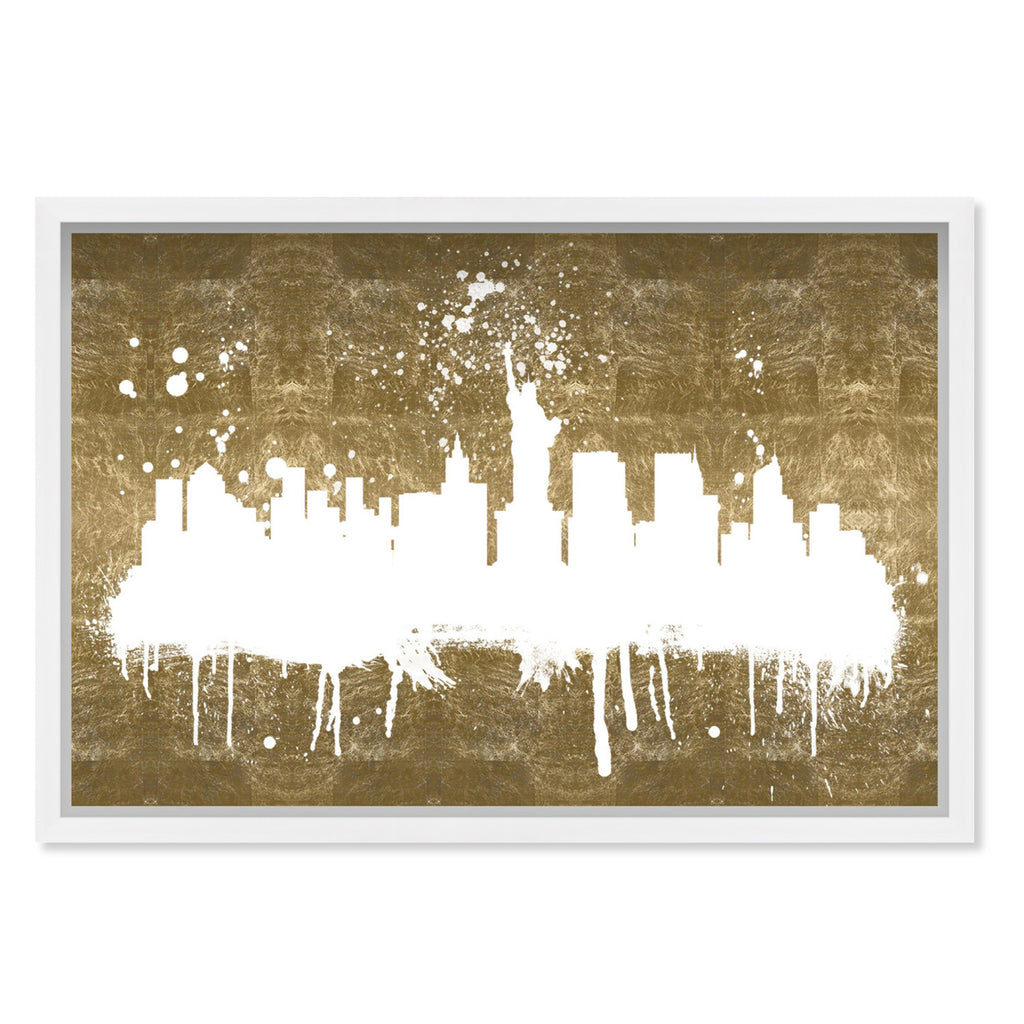 Hatcher & Ethan New York Skyline Gold Framed Wall Art