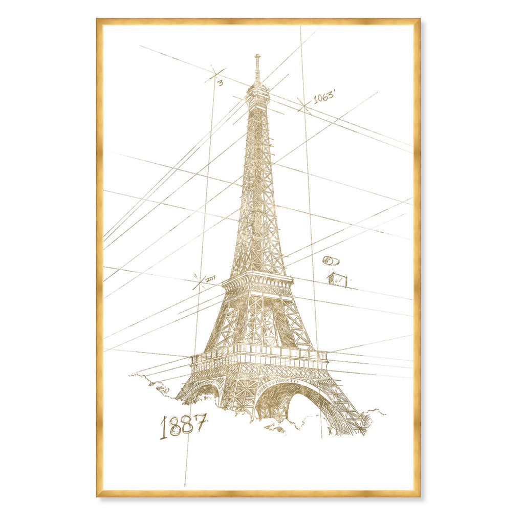 Hatcher & Ethan Golden Eiffel Tower Framed Wall Art