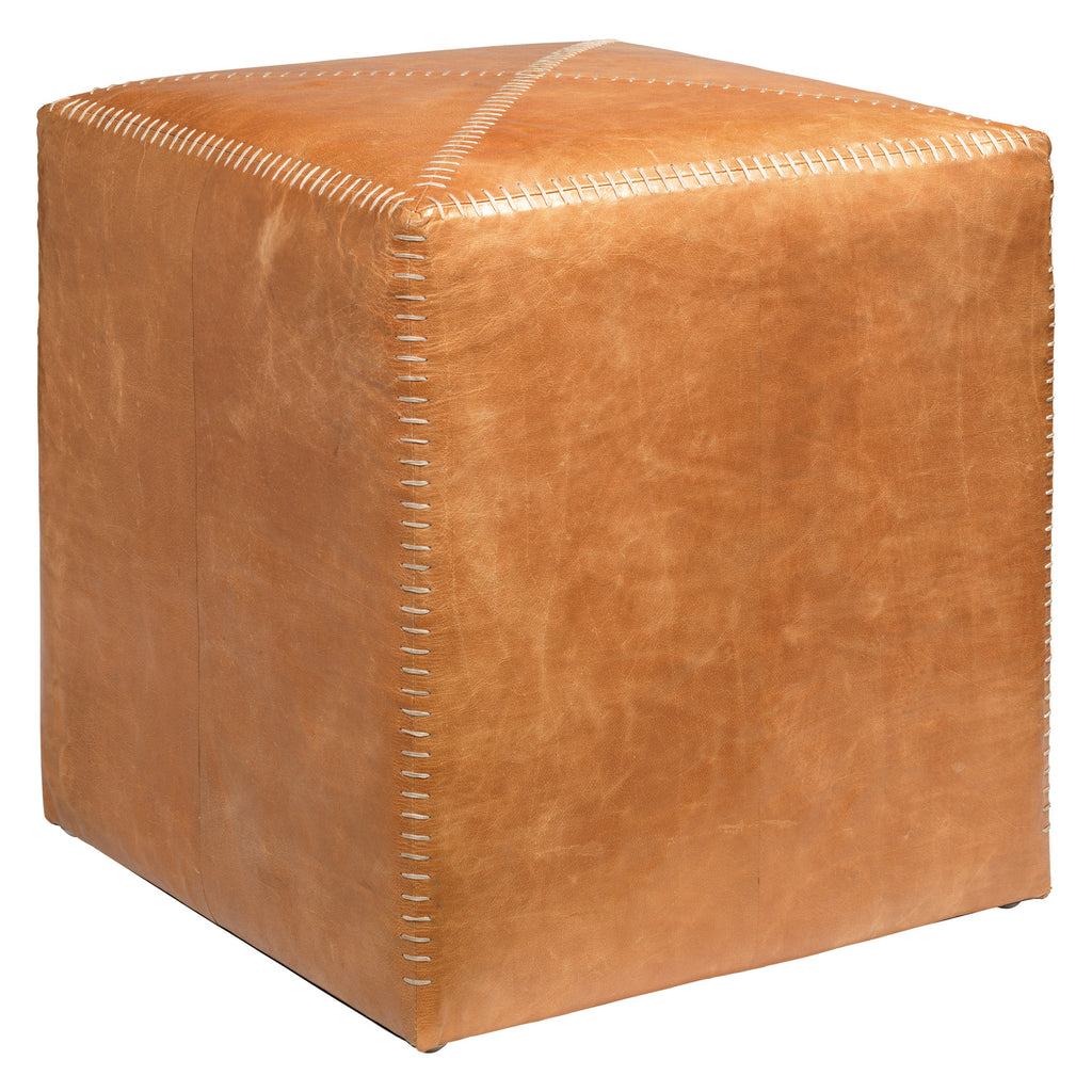 Jamie Young Leather Buff Ottoman