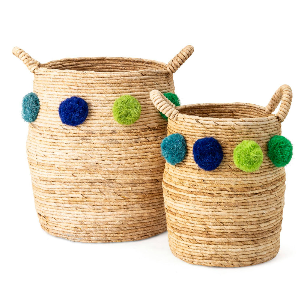 Billow Pom Basket Set of 2