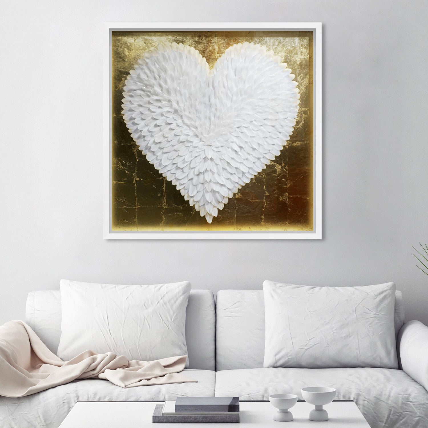 Oliver Gal Feather Heart White and Gold Framed Wall Art – Paynes Gray