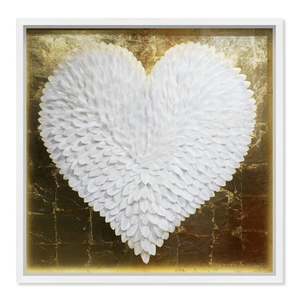 Oliver Gal Feather Heart White and Gold Framed Wall Art