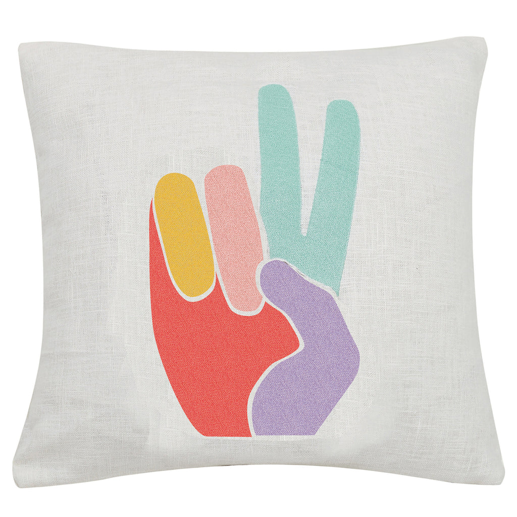 Ampersand Peace Hand Embroidered Throw Pillow