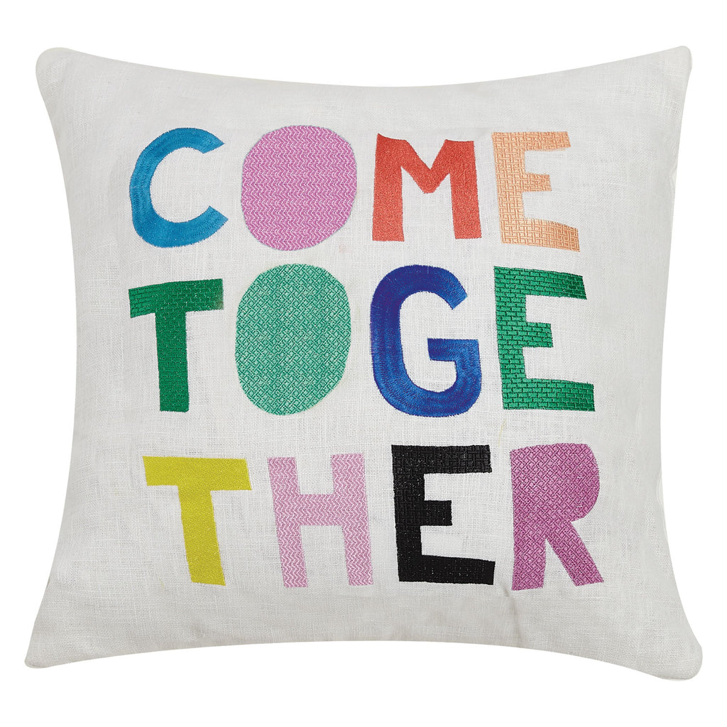 Ampersand Come Together Embroidered Throw Pillow