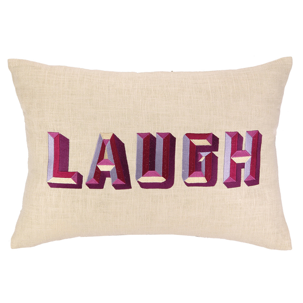Laugh Embroidered Throw Pillow