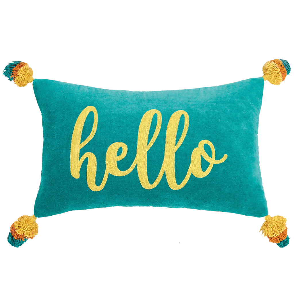 Hello Embroidered Throw Pillow