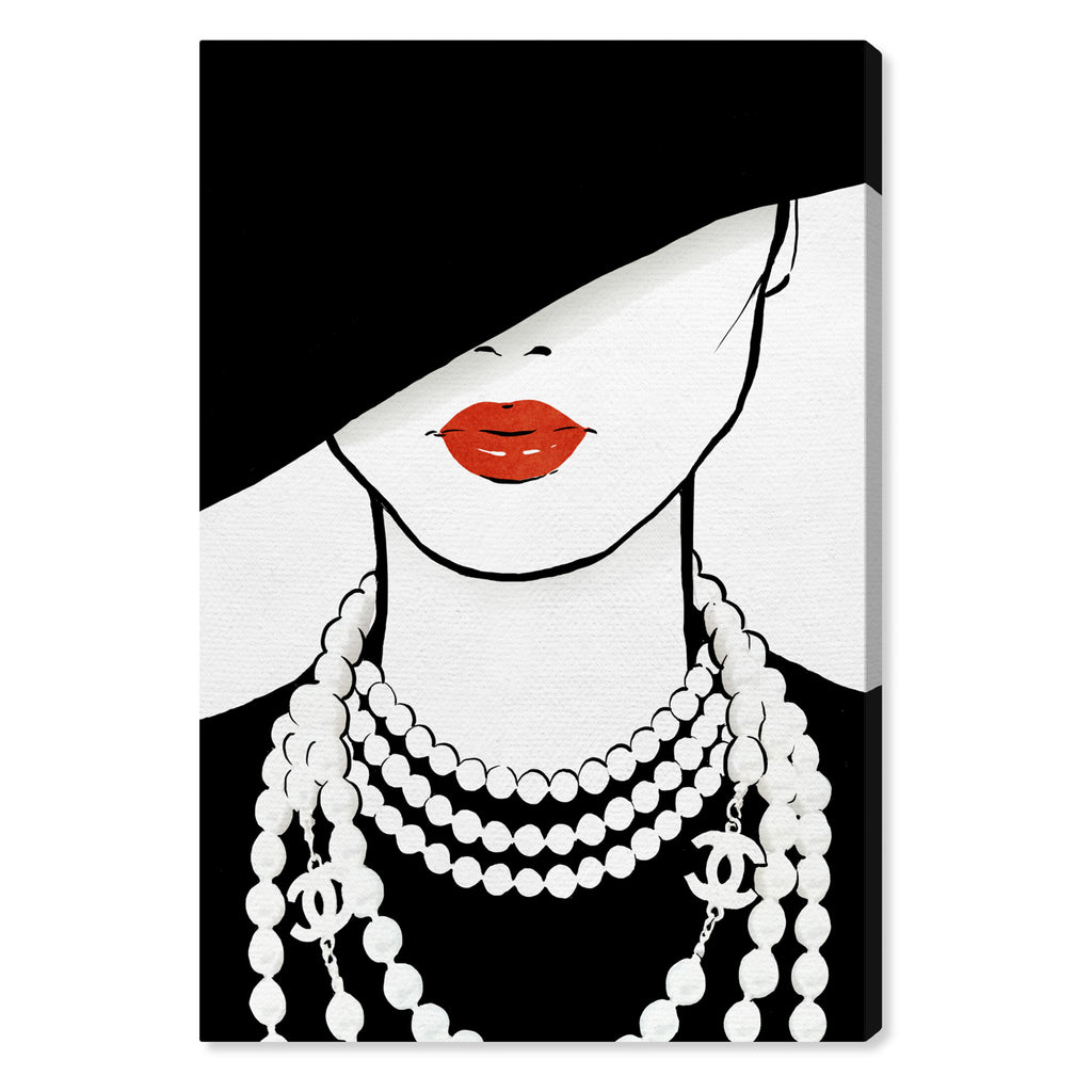 Oliver Gal Noir Hat & Pearls Canvas Wall Art