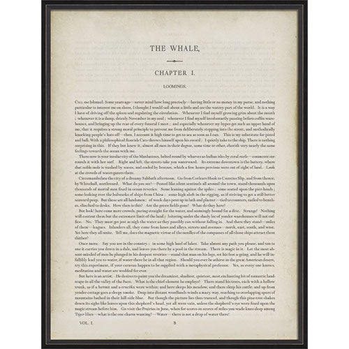 Moby Dick Chapter 1 Framed Print