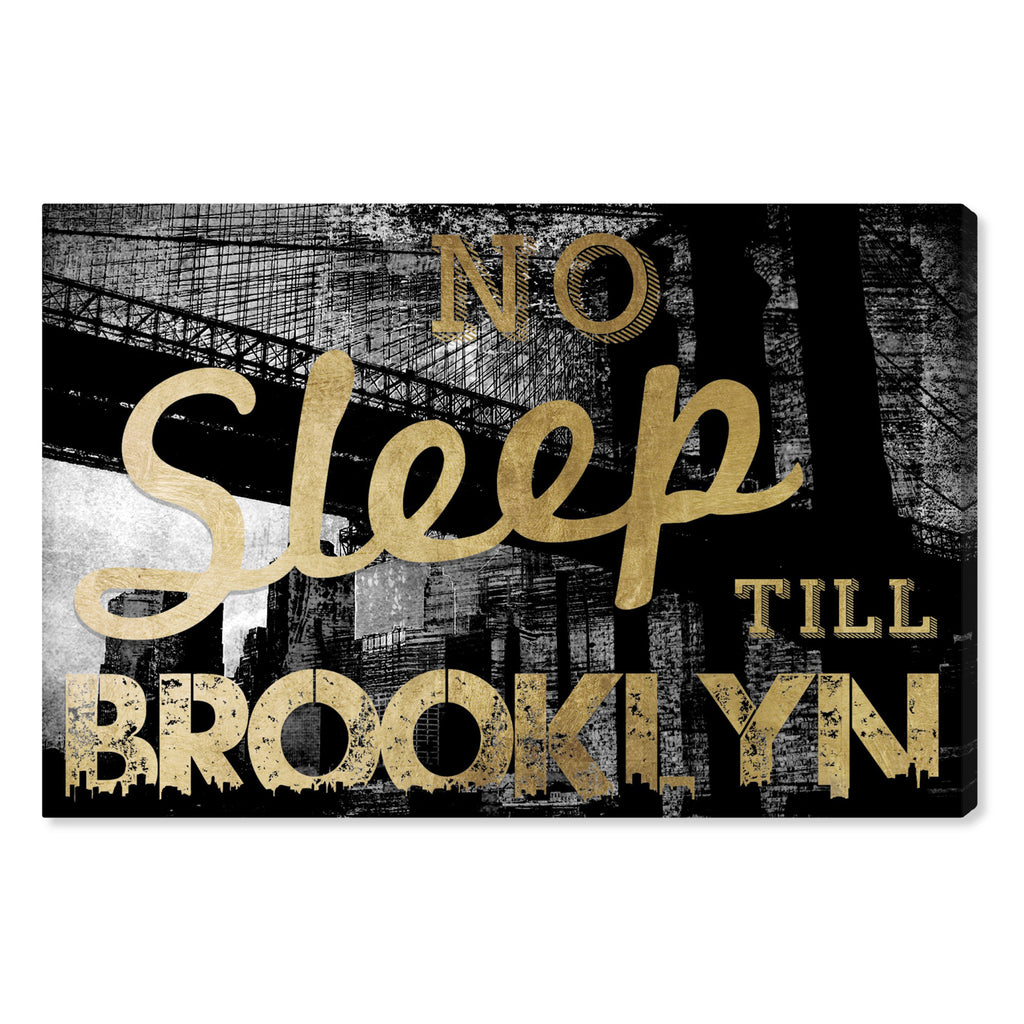 Oliver Gal No Sleep Brooklyn Gold Canvas Wall Art