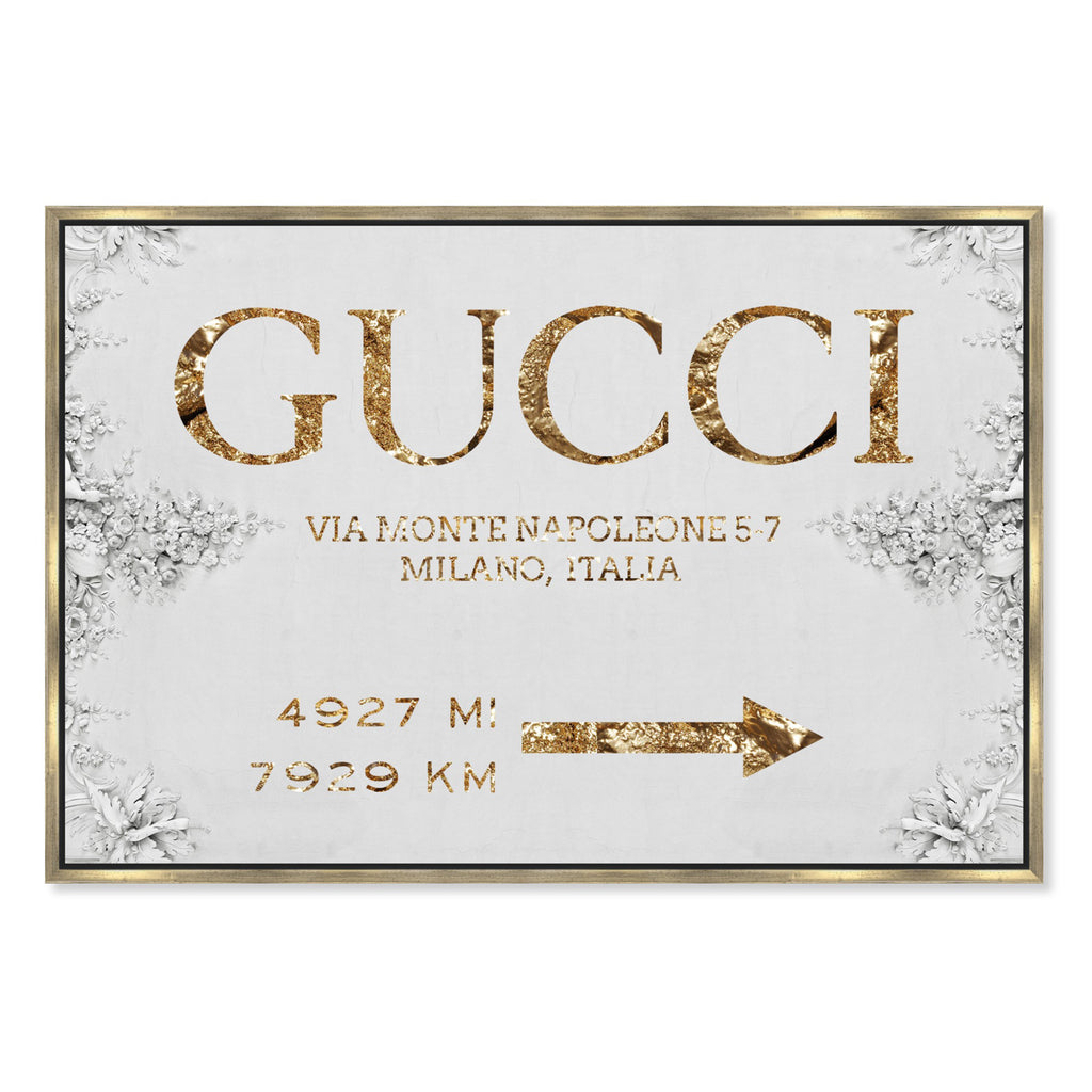 Oliver Gal Italian Luxe Road Sign Framed Canvas Wall Art