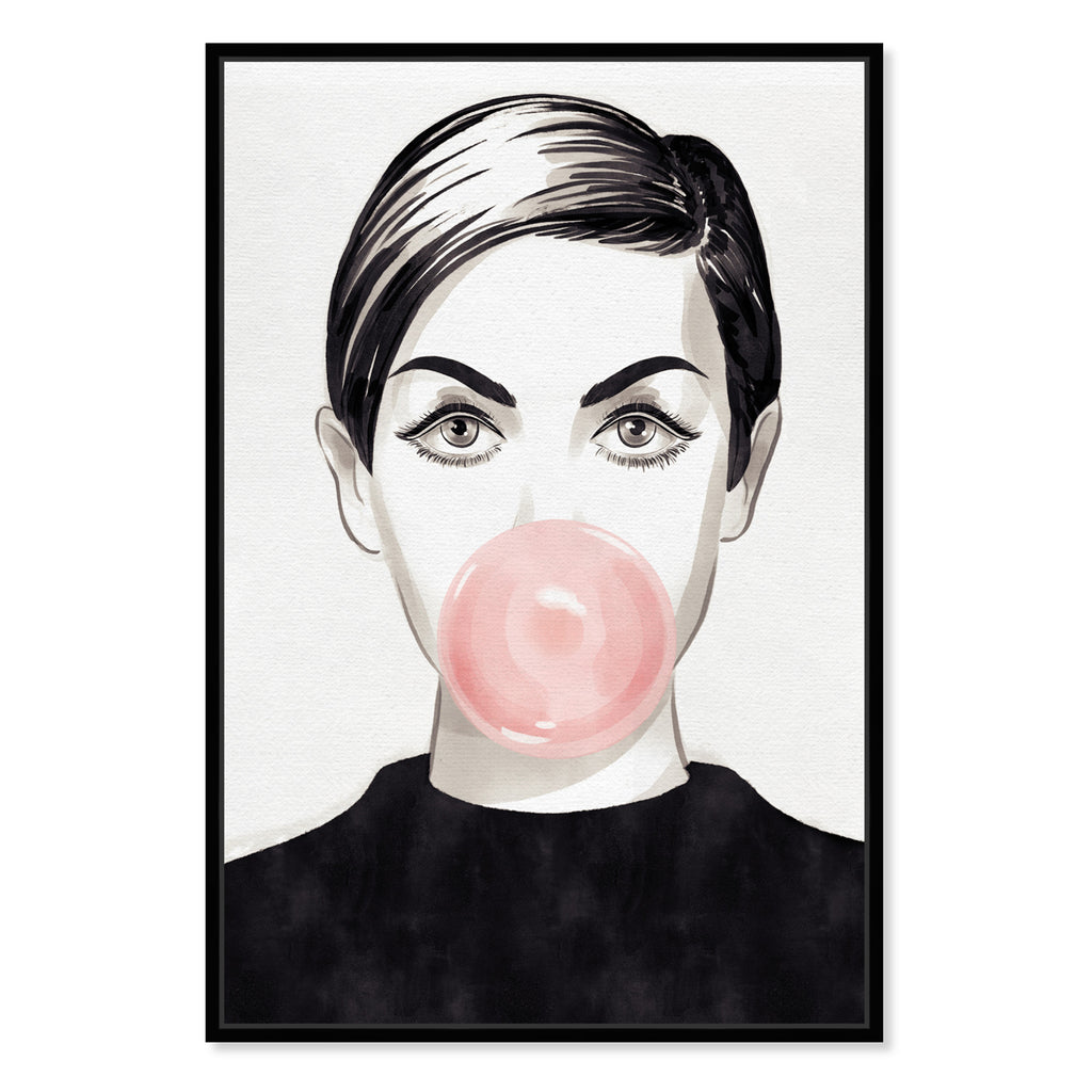 Oliver Gal Bubblegum Idol Framed Canvas Wall Art