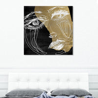 Oliver Gal Gold Dream Face Canvas Wall Art