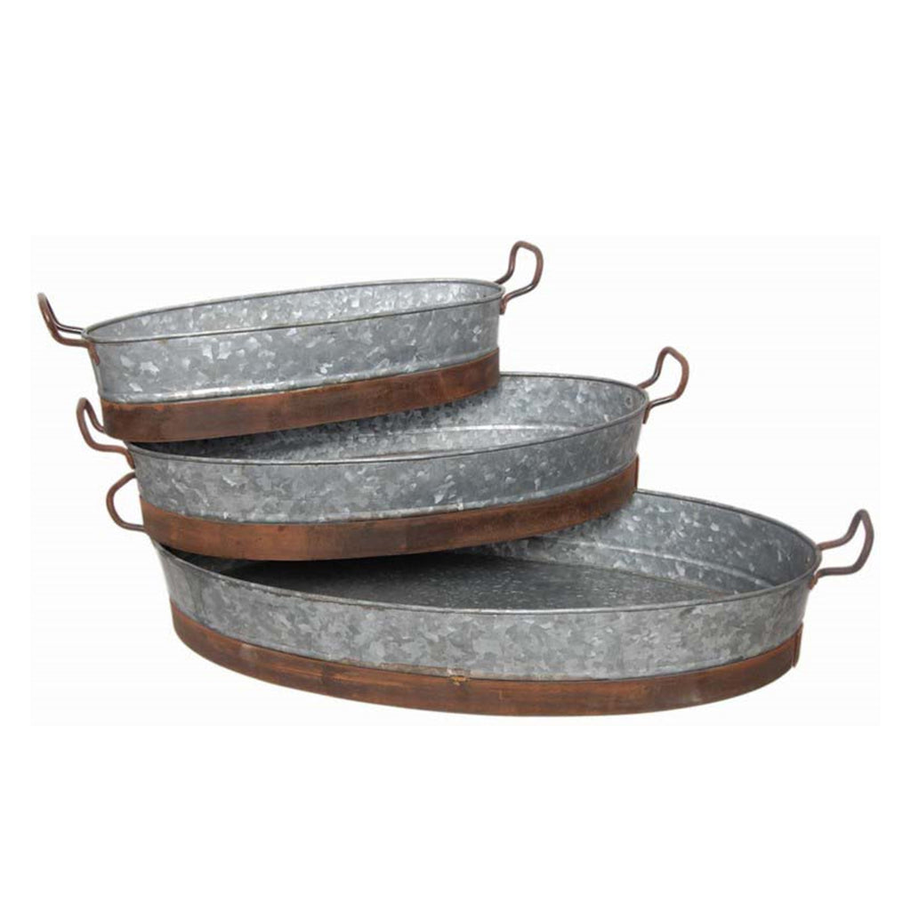 Gallo Galvanized Oval Tray Set of 3
