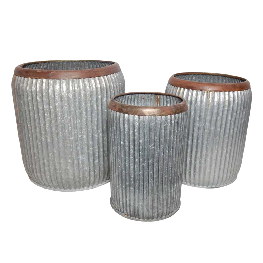 Stream Ribbed Galvanized Pot Set of 3