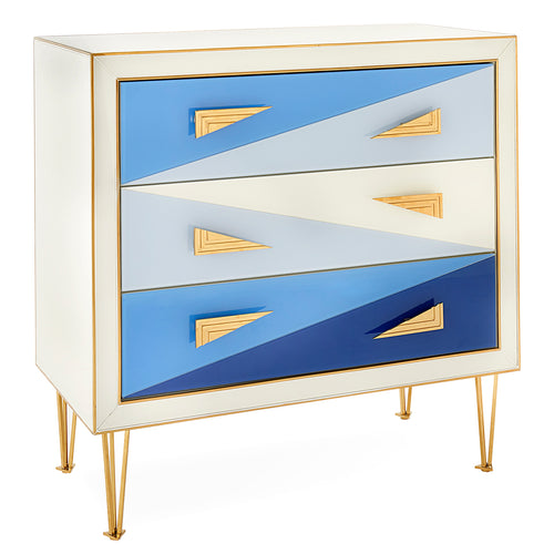 Jonathan Adler Harlequin Multi-Blue Three-Drawer Chest