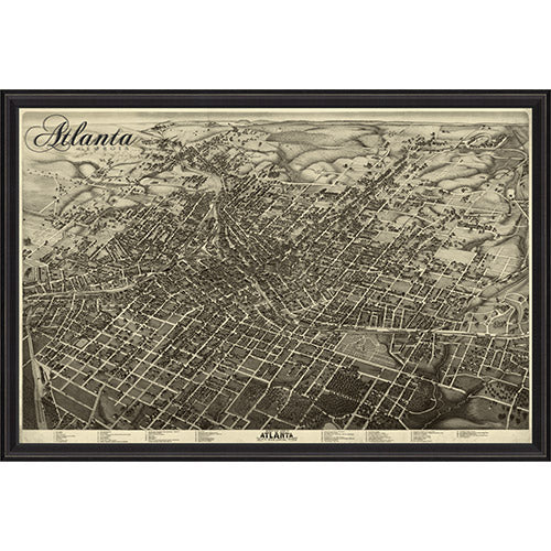 Atlanta Map 1892 Framed Print