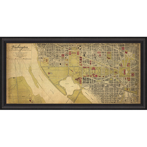 Washington DC Map 1917 Framed Print