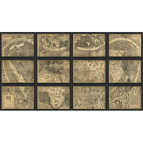 Map of the World 12 Section Set Framed Print