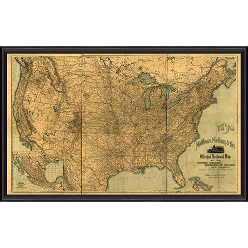 United States Official Railroad Map 1890 Framed Print Paynes Gray