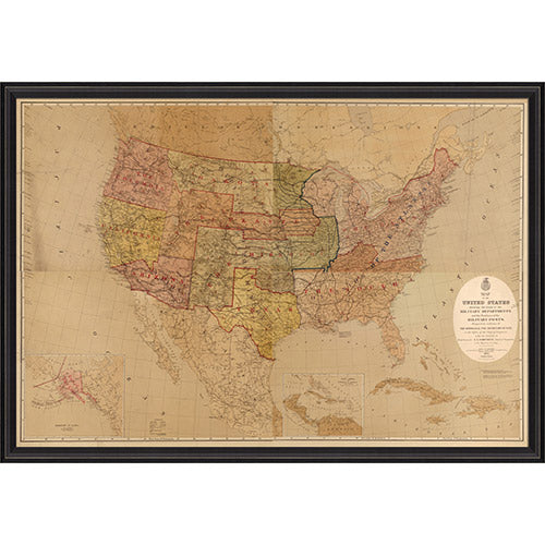 United States Map with Military Posts Framed Print