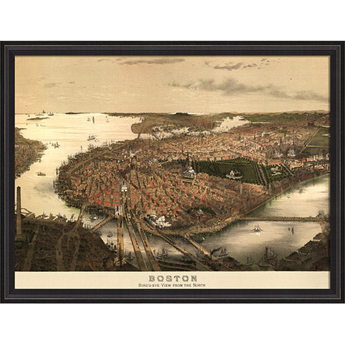 Boston Map 1877 Framed Print