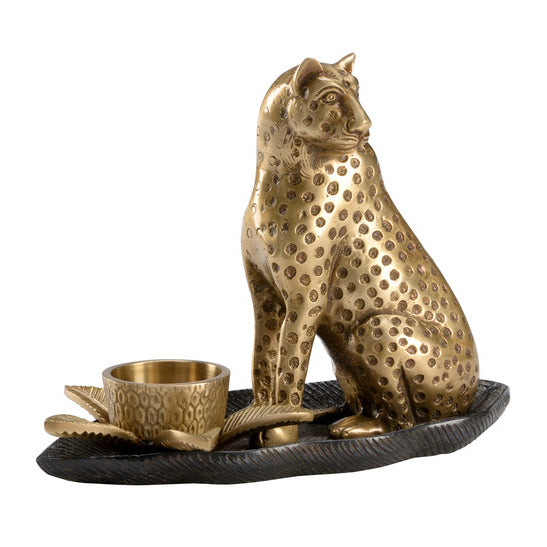Wildwood Brass Cat Candlestick