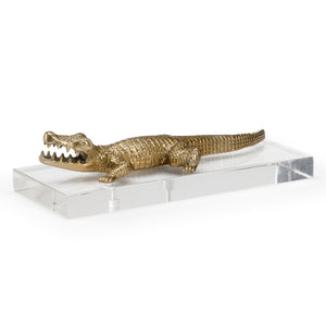 Wildwood Croc Of Brass Decorative Accent