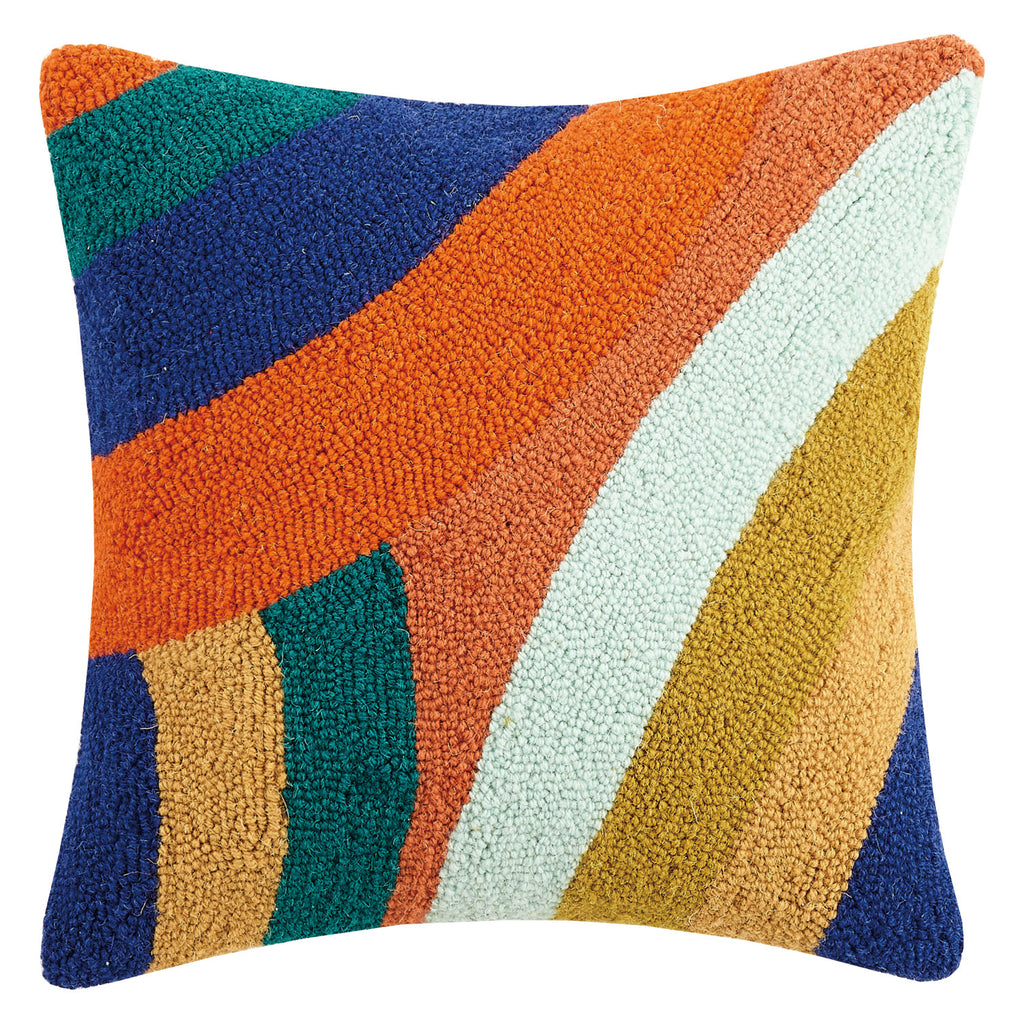 Elizabeth Olwen Vibrant Waves Hook Throw Pillow
