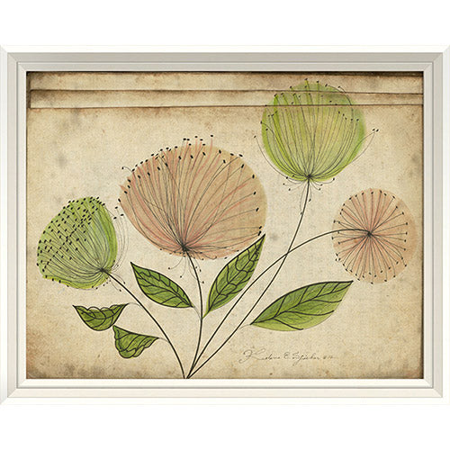Pink and Green Flowers Framed Print