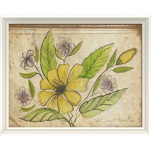 Purple and Yellow Flowers Framed Print