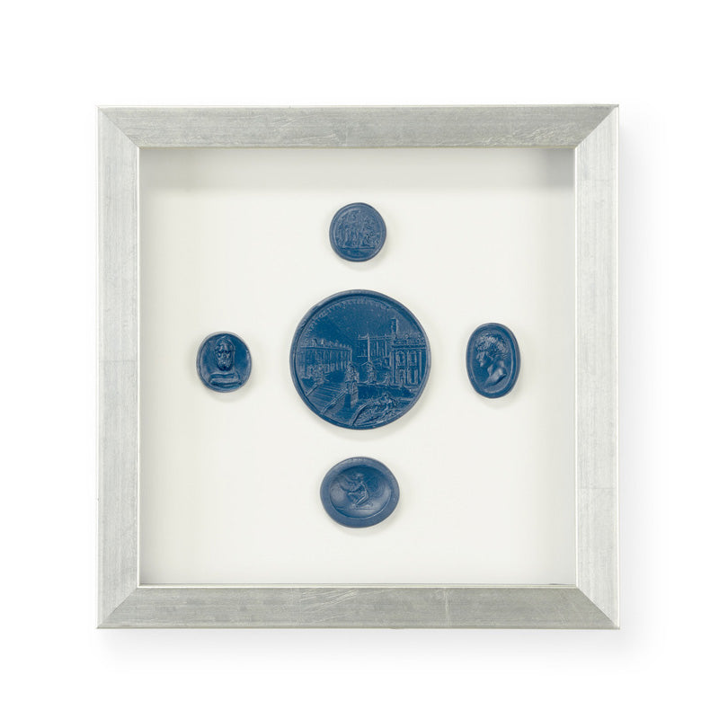 Chelsea House Intaglios Blue IV Framed Wall Art