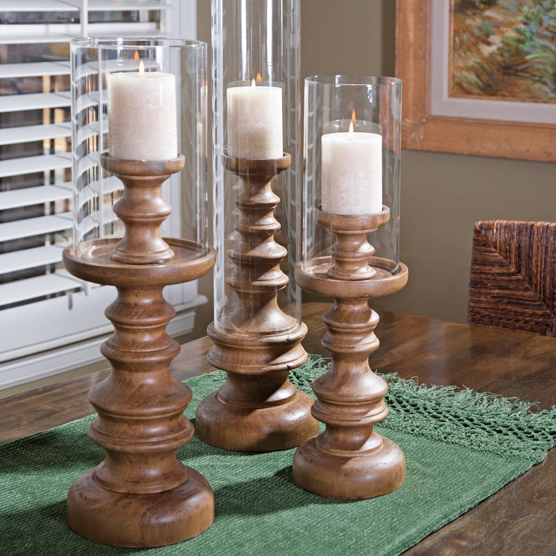 Bardo Wood Candleholder Set of 3