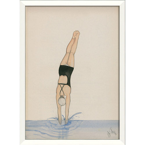 Diver in Black with Water Framed Print