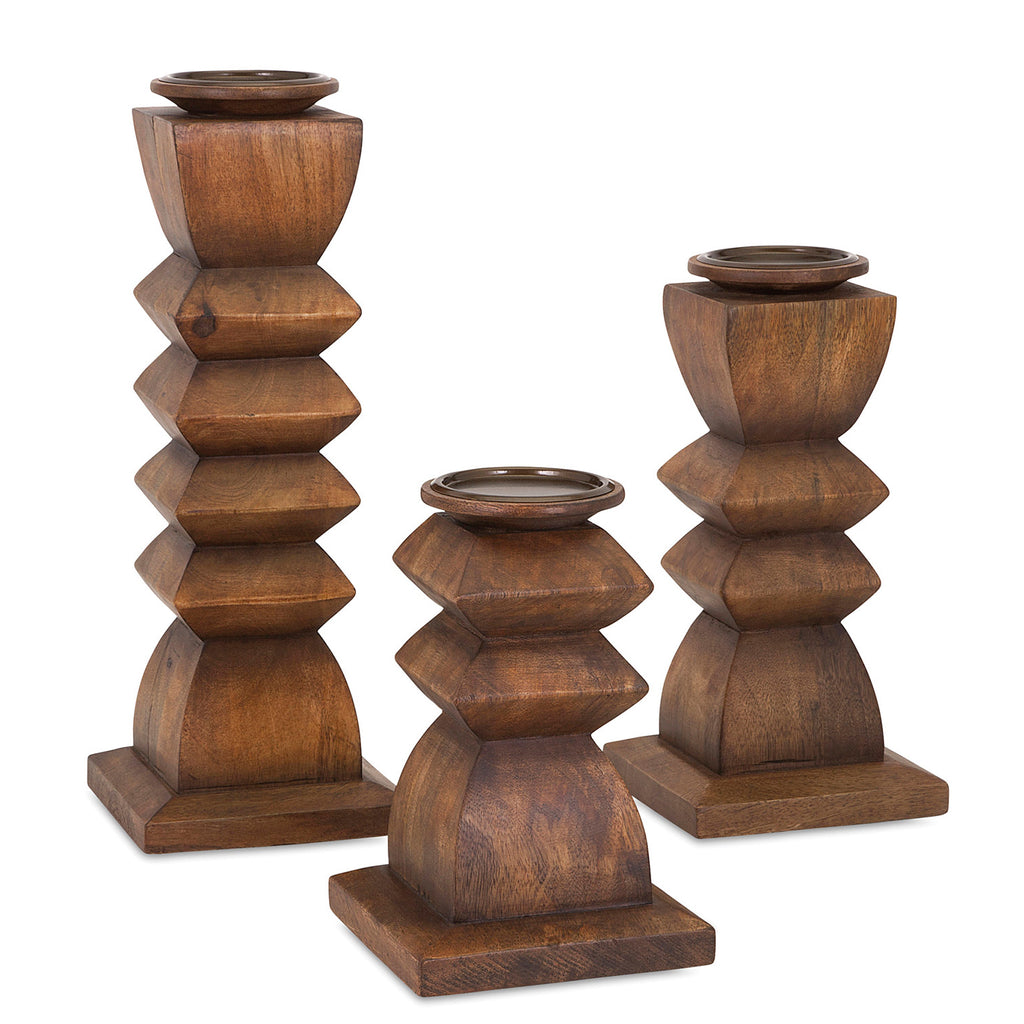 Ellis Wood Candleholder Set of 3