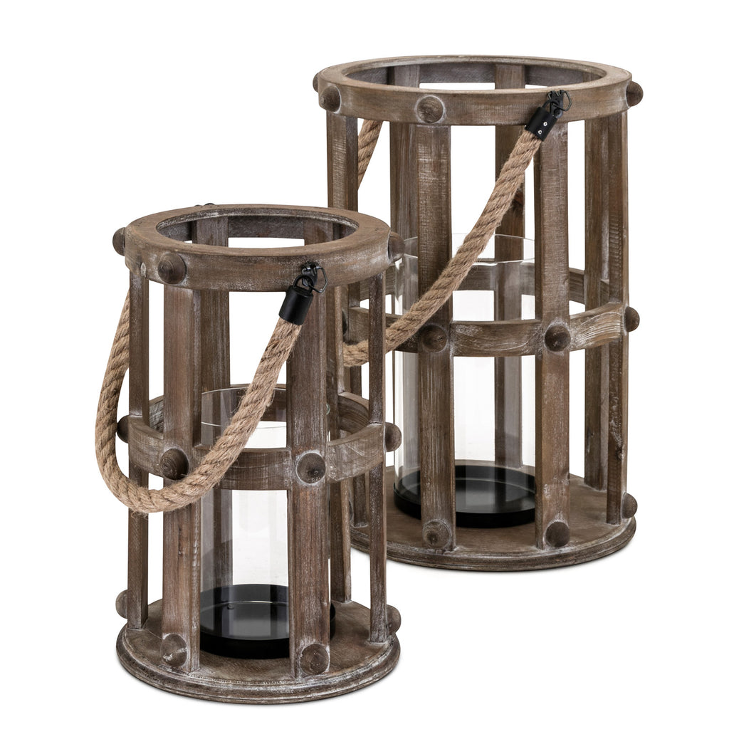 Wren Wood Lantern Set of 2