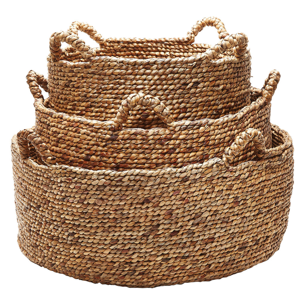 Hyacinth Low Rise Handled Basket Set of 3