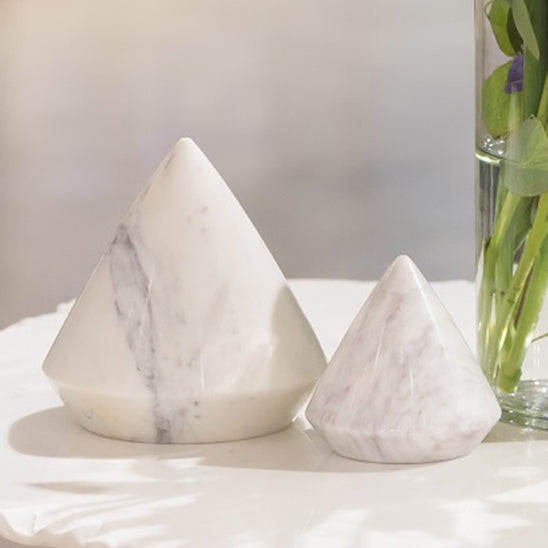 Marble Pryramid Decorative Object Set of 2