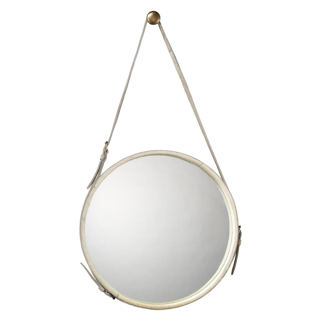 Jamie Young Round Hide Wall Mirror
