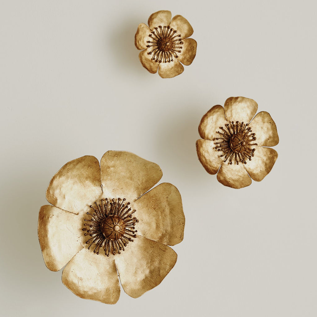 Global Views Golden Poppie Wall Accent Set of 3
