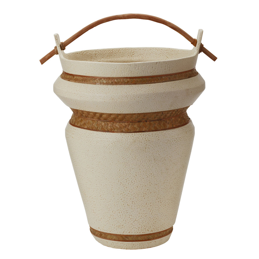 Cornoustie Urn with Woven Seagrass Trim