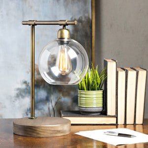 Amplitude Glass and Wood Table Lamp