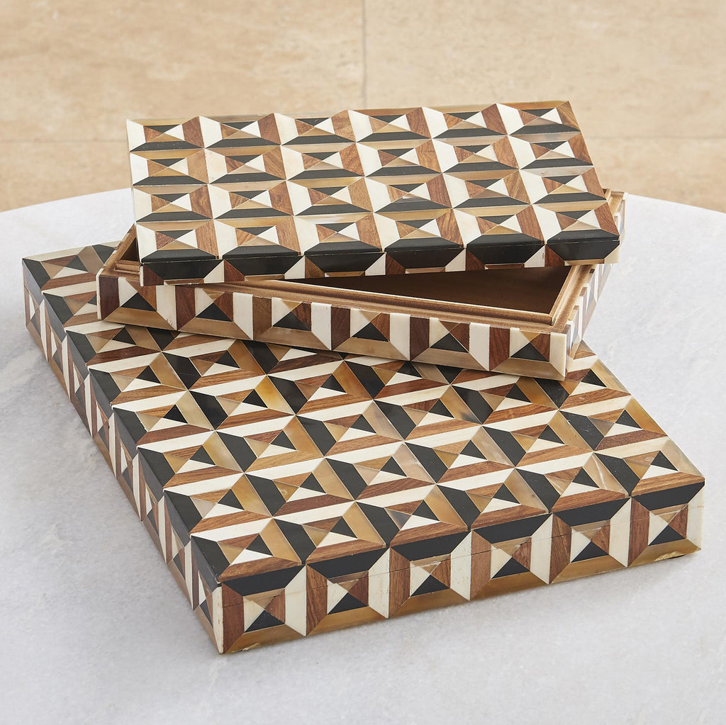 Global Views Triangle Marquetry Box