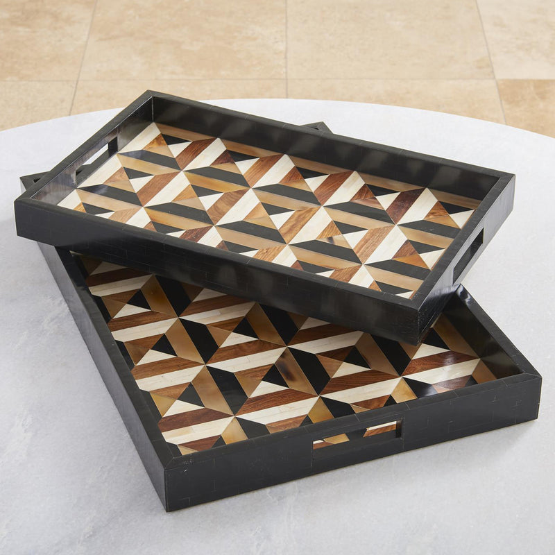 Global Views Triangle Marquetry Tray