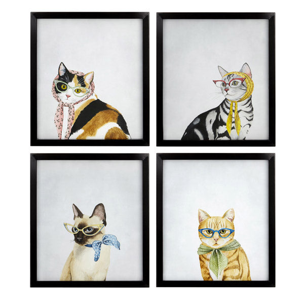 Feline Friends Framed Art Set of 4